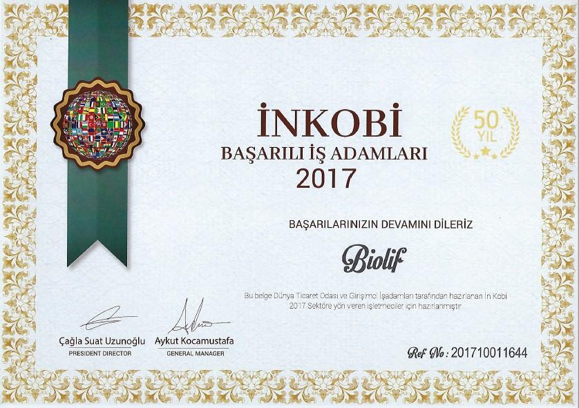 İnkobi 2017 Sertifikası